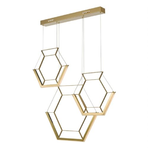 Hexagon 3lt Pendant Gold LED, Double Insulated BXHEX0335-17